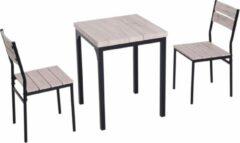 Merkloos / Sans marque Compacte Eettafel set met 2 Stoelen - Eetkamer tafel met eetkamerstoelen - Balkonset - Zitgroep - 2 Personen - Hout - Zwart