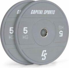 Grijze Capital_sports CAPITAL SPORTS Nipton 2021 halterschijf Bumper Plate - 2 x 5 kg - Ø 54 mm - hard rubber