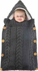 Grijze BonBini's baby slaapzak - Baby Wandelwagen slaapzak, babydekentje met knopen - 75 x 35 cm - Dark Grey
