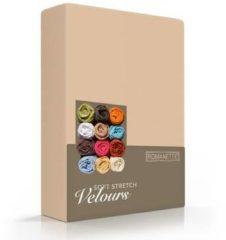 Bruine Romanette - Velours - Hoeslaken - Eenpersoons - 80/90/100x200/220 cm - Camel
