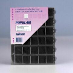 Transparante Importa POPULAIR muntbladen incl. schuifjes, 4 stuks 30-vaks met zwarte schutbladen, geschikt voor 120 munten