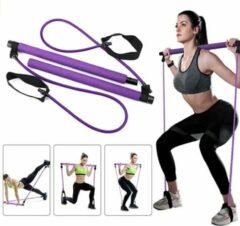 Bodio Pilates stick - Pilates Bar - Weerstandsband - Resistance band - Fitness elastiek - Weerstandbanden Fitness - Fitness krachttraining - Fitness - Pilates - Binnen - Buiten - Full body workout - Paars