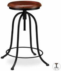 Zwarte Relaxdays barkruk industrieel - draaibare kruk - verstelbaar barstoel - metaal - retro A
