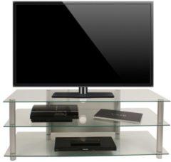 TV-Rack Lowboard Konsole Fernsehtisch TV Möbel Bank Glastisch Tisch Schrank 'Zumbo' VCM Klarglas