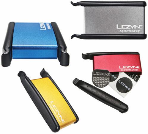 Afbeelding van Rode Lezyne metalen doosje met bandenlichters en bandenplakkers - Reparatiesetjes