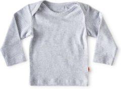 Little Label - baby - T-shirt - wit, zwarte streepjes - maat 68 - bio-katoen