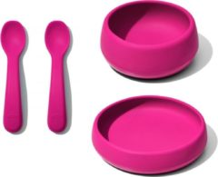 OXO tot OXO- Tot silicone serviessetje Roze | pink | Schokbestendig | Onbreekbaar | Baby- en kinderservies