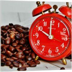 KuijsFotoprint Plexiglas - Koffiebonen met Rode Wekker - 100x100cm Foto op Plexiglas (Wanddecoratie op Plexiglas)