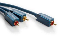 Clicktronic Cinch Audio Y-kabel [1x Cinch-stekker - 2x Cinch-stekker] 2 m Blauw Vergulde steekcontacten