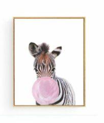 Postercity.nl Postercity - Design Canvas Poster Baby Zebra Roze Kauwgom / Kinderkamer / Dieren Poster / Babykamer - Kinderposter / Babyshower Cadeau / Muurdecoratie / 40 x 30cm / A3