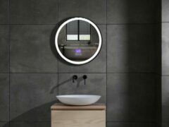 Mawialux LED spiegel   Directe en indirecte verlichting   60cm   Rond   Verwarming   Digitale klok   Bluetooth   ML-60NMR-WR