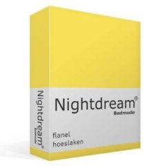 Snoozing Flanel Hoeslaken - 100% Geruwde Flanel-katoen - Lits-jumeaux (160x210/220 Cm) - Geel