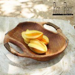 Bruine Rico & Plato Teak bowl Dora with natural rope handles Ø 35cm