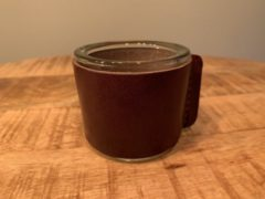 Scotts Bluf Waxinelichtjeshouder - set van 3 waxinelichthouders - glas en leer voor een gezellige sfeer - 7X7cm - sfeerlichtjes met bruin leer