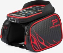 Promed Promend Fietsframetas voor Smartphones met TPU - aanraakscherm - Zwart-Rood