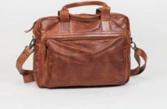Bruine Beardesign Bear Design Hugo Leren Laptoptas - 14 inch - Cognac
