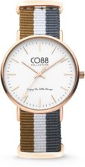 CO88 Collection Watches 8CW 10032 Horloge - Nato Band - Ø 36 mm - Bruin / Wit / Grijs