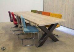 Bruine Van Abbevé Set tafel en stoelen Industriële Balken Eettafel Van Sloophout Met Metalen Kruispoot Inclusief 8 Retro Rib Stoelen