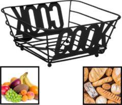 Decopatent® Fruitschaal Vierkant - Broodmand - Schaal voor Fruit of Brood - Design Fruitmand - Metaal - Afm 24 x 24 x 11Cm - Zwart