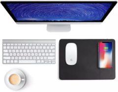 Qi Wireless Charger - Gaming Muismat Zwart Leder - Draadloze oplader - Smartphones - Samsung - Apple - Huawei