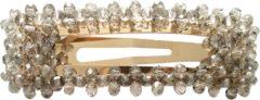Gouden Kraagjeskopen.nl® Haarspeld met Grijze Strass Steentjes 1 Speld - Haarclip Rechthoekig - Haaraccessoire Dames en Meisjes
