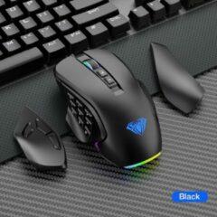 Zwarte Unbranded AULA RGB-gamingmuis met zijknoppen Macro-programmering 10000 DPI Instelbare 14-toetsen Bedrade USB-verlichte Muis Voor Desktoplaptop
