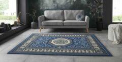 Tapeso Vloerkleed retro oriental - jeansblauw 160x220 cm
