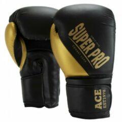 Super Pro Combat Gear ACE (kick)bokshandschoenen Zwart-Goud - 12 oz