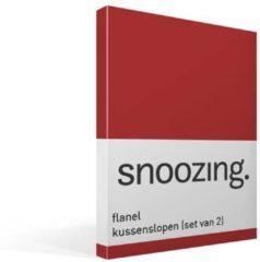 Snoozing flanel kussenslopen (set van 2) - 100% geruwde flanel-katoen - 60x70 cm - Standaardmaat - Rood