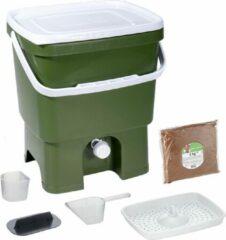Skaza Exceeding Expectations Skaza Bokashi Organko keukencompostbak van gerecycleerd plastic |16 L| Starter Setbvoor keukenafval en compostering | met EM zemelen 1 kg | Olijf groen