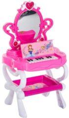 HOMCOM Schminktisch Kinder Frisiertisch mit Stuhl Klavier Musik und Licht Pink Kinder Frisiertisch Schminktisch Kinderspielzeug