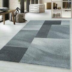 Adana Carpets Retro vloerkleed - Stencil Rectangles Grijs Antraciet 80x150cm