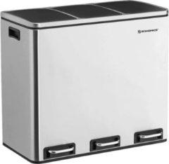 MIRA Home Prullenbak – Pedaalemmer – Modern – RVS – Zilver - 61.5x31.5x56