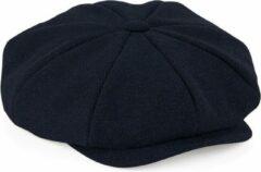 Merkloos / Sans marque Navy blauwe flatcap voor dames - volledig gestikt - bakerboy pet / flat cap S/M