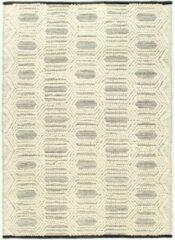 VidaXL Vloerkleed handgeweven 80x150 cm wol wit en zwart