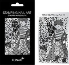 Grijze KONAD Square Image Plate 12 geïnspireerd door ' PRINTS ': punten, sterren, bloemen, rozen, hartjes, kompassen....