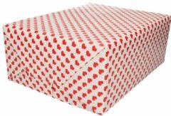 Bellatio Decorations 3x Inpakpapier/cadeaupapier rode hartjes print 200 x 70 cm rollen - Valentijnsdag kadopapier / cadeaupapier