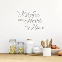 Merkloos / Sans marque Muursticker The Kitchen Is The Heart Of A Home - Donkergrijs - 160 x 113 cm - keuken engelse teksten - Muursticker4Sale