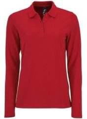Rode Polo Shirt Lange Mouw Sols PERFECT LSL COLORS WOMEN