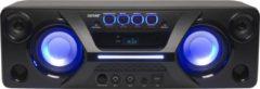 Zwarte Denver BTB-410, Bluetooth speaker met FM radio en lichteffecten