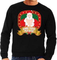 Bellatio Decorations Foute kersttrui / sweater - zwart - Kerstman Hashtag Metoo discussie heren 2XL (56)