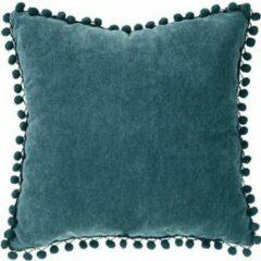 Blauwe Atmosphera Créateur d'intérieur® Kussen  Sierkussen   40 x 40cm   Woonkussen  Pom Pom   Groen   Velvet