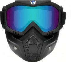 Tecqx Motor Masker – Ski Bril – Scooter – Helm - Anti-UV – Snowboardbril – Multifunctioneel – Zwart - Blauw
