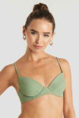 Groene NA-KD Swimwear Tie Back Bikini Cup Bra - Green