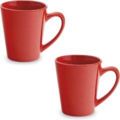 Shoppartners 2x Drinkbeker/mok rood 350 ml - Keramiek - Rode mokken/bekers voor onbijt en lunch