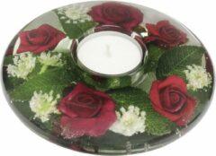 Rawa Geschenken Waxinelichthouder met rode bloemen - 5x13 cm handgemaakte glazen waxinelicht houder - sfeervolle windlicht decoratie