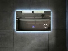 Mawialux LED spiegel   100cm   Rechthoek   Verwarming   Digitale klok   Bluetooth   ML-100NMF