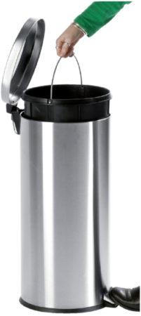 Afbeelding van Vepa Bins Afvalbak pedaalemmer RVS mat rond 30 liter