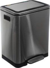 Zilveren 4Goodz Pedaalemmer 2 x 15 liter met uitneembare binnen emmers - RVS