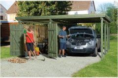 Bruine WEKA Carport Plus 3 Inclusief bergruimte B 512 x D 606 x H 215 cm